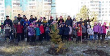 """В рамках экологического проекта 3 """"в"""" класс посадили деревья на территории нашей школы"""